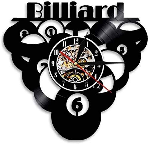 ZZNN Bola de Billar Piscina Reloj de Vinilo Reloj de Registro Deportes Decoración del hogar Sala de Billar Reloj de Pared Reloj de Pared Reloj artístico