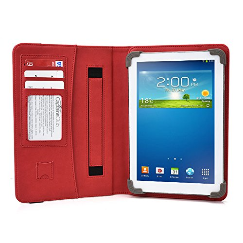 ASUS ZENPAD Z170C-A1-BK 7 Inch Tablet Case, UniGrip PRO Series - RED - by Cush Cases (Case Features PU Leather with Bulit in Stand, Hand Strap, 3 Card Slots and SD Card Holder)