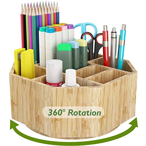 Bamboo 360° Rotating Art Supply Organizer - Darfoo Pen Pencil Holder Organizer for Desk with 9 Compartments, Desk Organizer for Colored Pencils, Markers, Crayon Paint Brushes