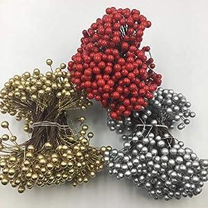 cheeseandu artificial berries 250wire stems 500 heads mini christmas fruit berry flower decor for diy crafts wreath garland christmas ornaments decoration home holiday craft,silver silk flower arrangements