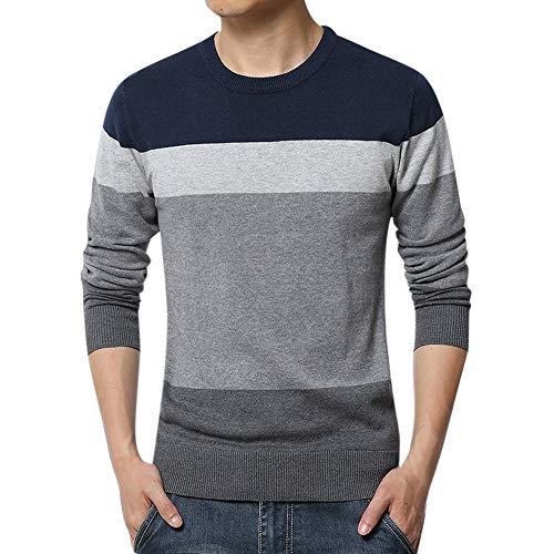 Sweatshirt Herren,SANFASHION Männer Herbst Winter Pullover Mode Lose O-Ausschnitt Strickpullover Bluse Top