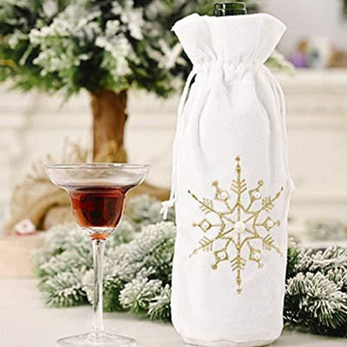 Bolsas Bolsas de vino vino de regalo con lazo de, cubiertas de botella reutilizable del copo de nieve Impreso de vino for la Navidad, boda, cumpleaños, viajes, celebración de días festivos, es