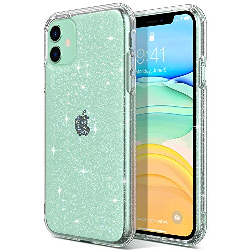 ULAK Compatible with iPhone 11 Case, Clear Glitter Hybrid Protective Phone Case Slim Transparent Anti-Scratch Shock Absorption TPU Bumper Cover for iPhone 11 6.1 inch (2019), Glitter