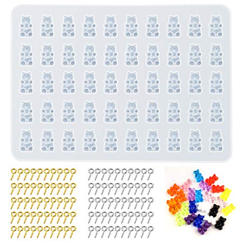 Amurgo 1 Pack Gummy Bear Charms Resin Silicone Mold with 100pcs Screw Eye Pins for Jewelry Making Cute Bear Charms Pendants Bracelet Keychains, DIY Jewelry Casting Molds Tools Set