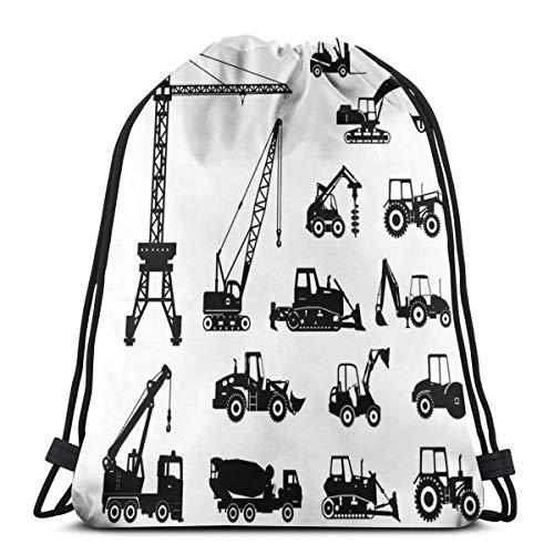 LLiopn Drawstring Sack Backpacks Bags,Black Silhouettes Concrete Mixer Machines Industrial Set Trucks Tractors,Adjustable.,5 Liter Capacity,Adjustable.