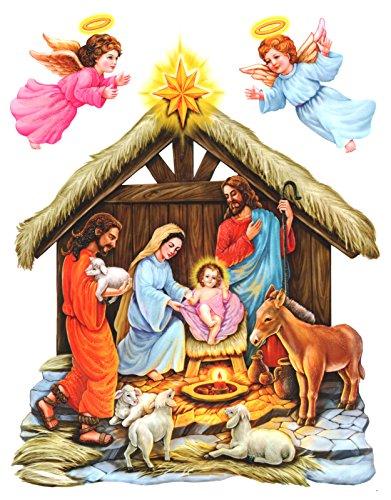 dpr. Fensterbild Set 3-TLG Weihnachtsgeschichte Krippenszene Krippe zart beglimmert statisch haftend Weihnachten Advent Fenstersticker Weihnachtsdeko