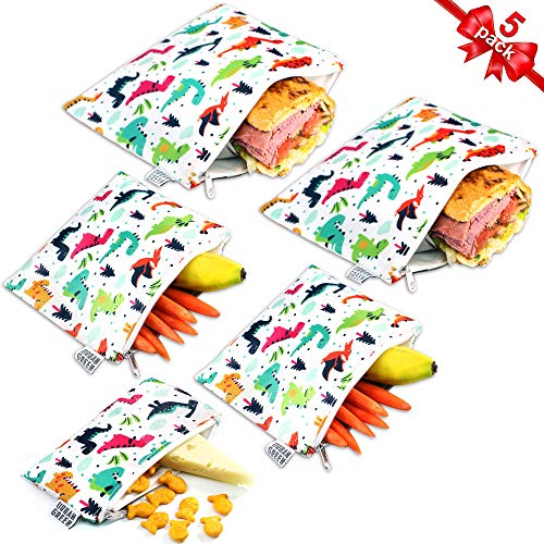 Reusable Sandwich Snack Bags for kids Urban Green, Sandwich bags zipper dishwasher safe, snack pouch bag cloths, Lunch Bags, BPA Free, 5 pack, Dinosaur snack Bags, Toiletry Makeup Bag