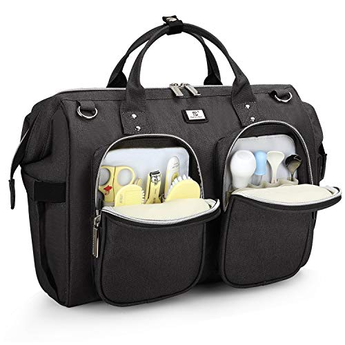 Pomelo Best Wickeltasche mit wasserdicher Wickelunterlage und 2 Kinderwagen Haken verstellbare Schultergurt multifunktionale Umhängetasche Reisetasche für Unterwegs (Dunkelgrau)