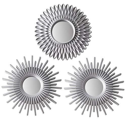 Espejos Pared Decorativos Plateados Pack 3 - BONNYCO | Espejos Decorativos Ideales para Decoracion Casa, Habitación y Salón | Espejos Redondos Pared Regalos Originales para Mujer | Decoracion Pared