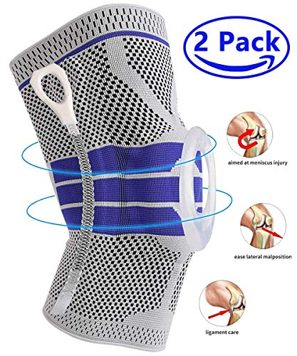 Knee Brace Compression Sleeve, Elastic Knee Wraps Patella Stabilizer with Silicone Gel Spring Support, Hinged Kneepads Protector for Meniscus Tear Arthritis Running Men Women L