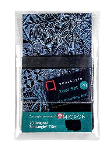 Original Zentangle Kacheln, schwarz, 89 x 89 mm, 20 Stück