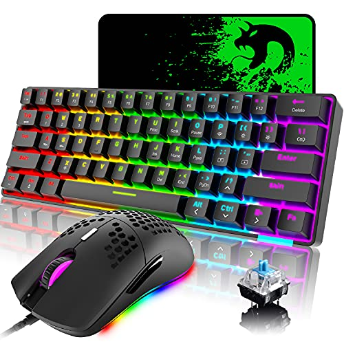 60% Wireless Mechanical Keyboard and Wired Mouse,Chroma RGB 12 LED Backlit Type C Wired 61 Keys Compact Gaming Keyboard Bluetooth 5.0 Blue Switch,RGB Gaming Mouse 12000DPI for PC Laptop Gamer (Black)