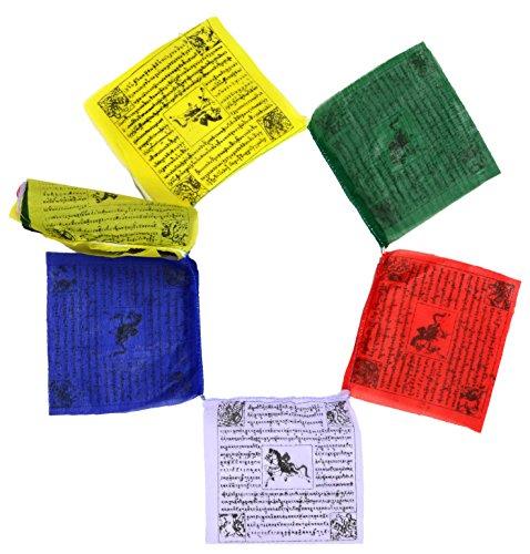 BUDDHAFIGUREN/Billy Held Bandiere di Preghiera, Tessuto, Multicolore, 12x3x2 cm