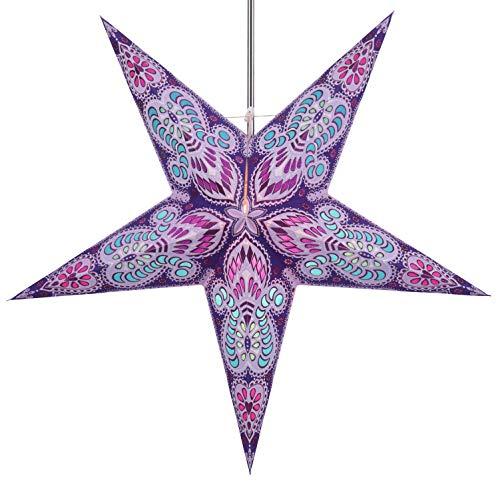 Papierstern / Weihnachtsstern Menor violett mixed / Papierstern 5 Zacken