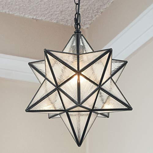 Modern Moravian Star Pendant Light Seeded Large Glass Star...