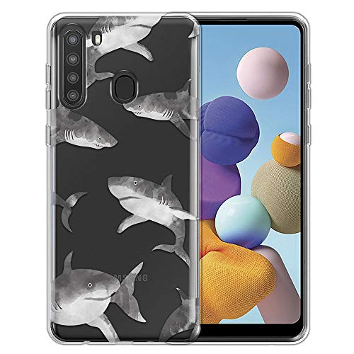 FINCIBO Case Compatible with Samsung Galaxy A21 6.5 inch 2020, Clear Transparent TPU Silicone Protector Case Cover Soft Gel Skin for Galaxy A21 (NOT FIT Galaxy A21s) - Gray Sharks