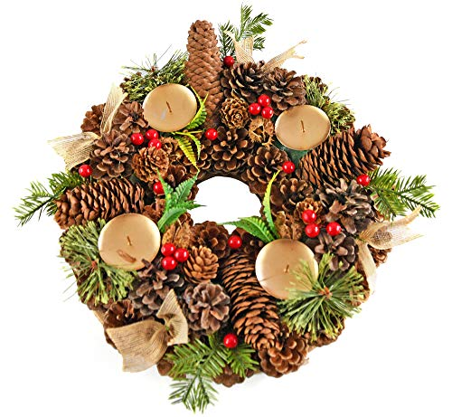 "Home-X Pinecone Christmas Wreath Candle Holder, Artificial Advent Wreath, Red Berry Winter Home Decorations, (13"" Diameter)"