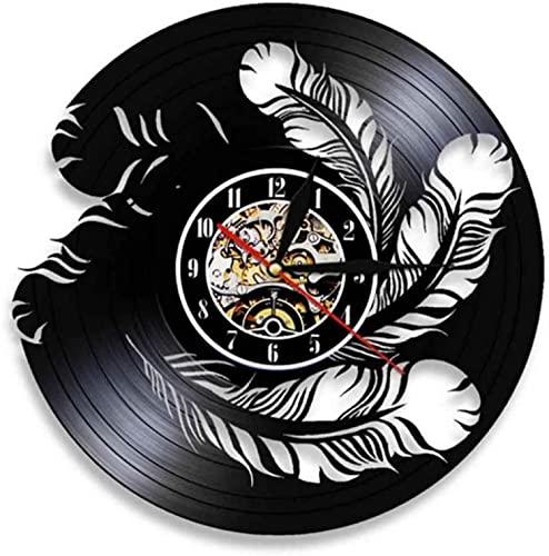 JZDH Pared Reloj pájaro Plumas Pared Pared Reloj Pared Natural Interior decoración de Pared Disco de Vinilo Reloj de Pared Reloj Moderno Colgante Reloj pájaro dueños de Mascotas Regalo