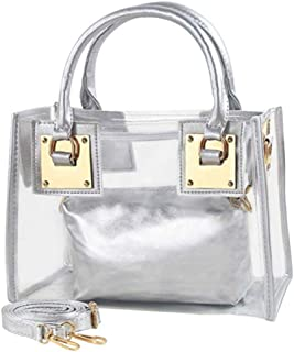 Cooba 2Pcs Women Clear Jelly Tote Beach Crossbody Transparent Messenger Shoulder Bag Handbag