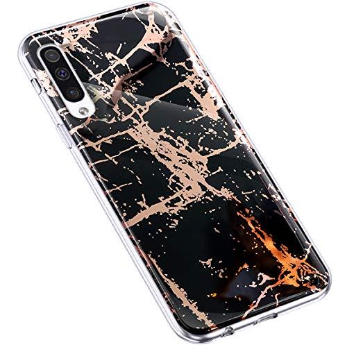 Uposao Kompatibel mit Samsung Galaxy A50 Hülle Transparent Dünn Weiche Silikon Handyhülle Glitzer Marmor 3D Geometrische Durchsichtige Schutzhülle Stein Marble Handytasche,Marmor Schwarz