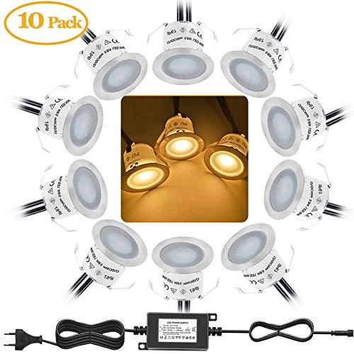 Bojim 10PCS Focos LED Empotrables de Suelo para Exterior, Impermeable IP67, Blanco Cálido 3000K, Diámetro 32mm 0.6Watts 12V-DC, Lámpara de Subterránea para Senderos Terrazas Maderas Piscinas Escaleras