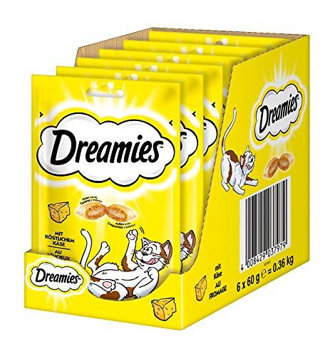 Dreamies Clásicos aperitivos para gatos con queso, bolsillos crujientes de ensueño con relleno delicado, 6 x 60 g