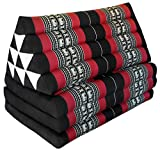 Colchón Thai XXL 3pliegues con cojín respaldo triángulo, sofá, ocio, colchón, Kapok, playa, piscina, fabricado en thailande, Negro/Rojo con elefantes (81618)
