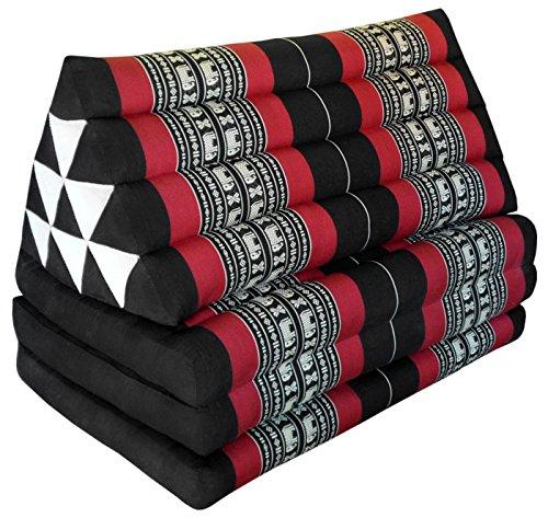 Wifash - Colchón Thai XXL de 3 pliegues con cojín, respaldo triángulo, sofá, relajación, colchón, kapok, playa, piscina, fabricado en Tailandia, negro y rojo con elefantes (81618)