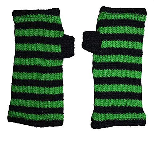 Freak Scene Freak Scene® Warmhaltende Arm und Bein Stulpen, Farbe: Armstulpen schwarz-grün gestreift