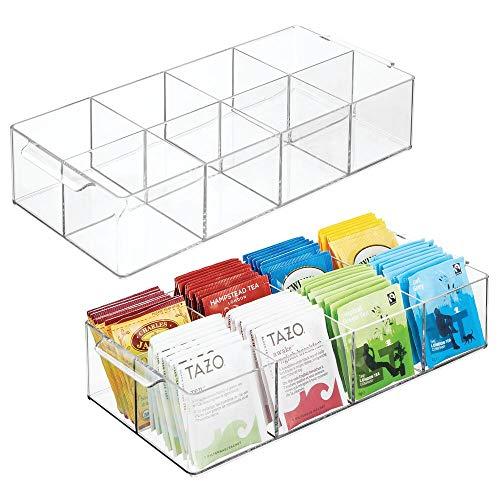 mDesign Set da 2 Organizer da Cucina – Contenitore in plastica con Manici per Cucina, dispensa e Frigorifero – Scatola con 8 Scomparti Ideale per tè, spezie, caffè e Altri Alimenti – Trasparente