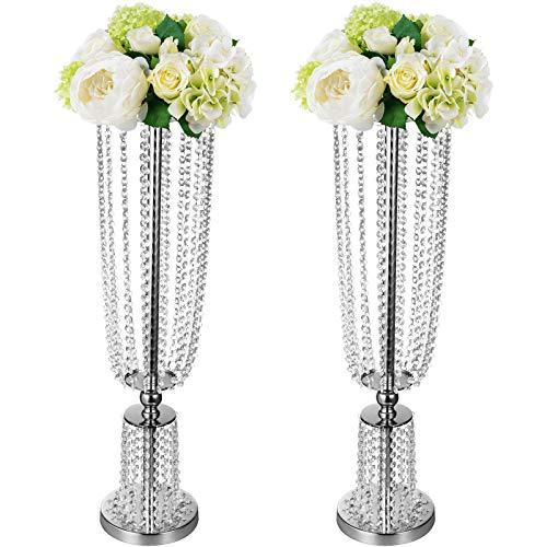 VEVOR 2 STK Blumenvase Kerzenhalter 80cm Kerzenständer Tisch für Hochzeit Dekoration(Silber)