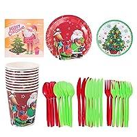 Amosfun 1セット80個のクリスマス使い捨て食器セット10名様用セット用品には、紙皿、カップ、ナプキン、プラスチック製の銀器が含まれます