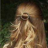 Artio Minimalist gold hair accessories brass hair clip for women and girls (Gold)