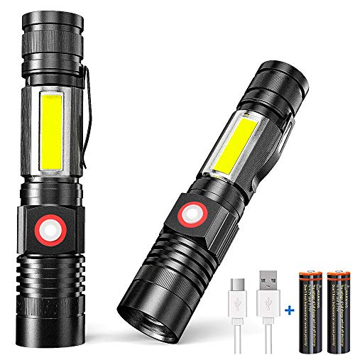 Magnetic Flashlight Rechargeable, 2 pack Super Bright LED Torch (Batteries Included) - Side Work Light, Zoomable, IP65 Waterproof - Emergency, Camping, Mechanics, Everyday Flashlight with Clip