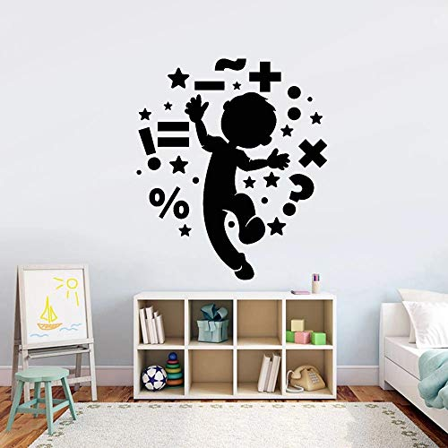 WERWN Símbolos matemáticos Pegatinas de Pared Aula Escolar Ventana Artificial Personalidad Dibujos Animados Bailando niños Vinilo