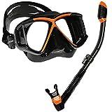 Cressi Panoramic Wide View Mask Dry Snorkel Set (Black/Orange)