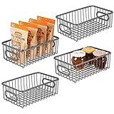 cesta de armazenamento de alimentos para despensa de cozinha de metal mDesign, pacote com 4, Graphite Gray, 10.1 x 6.1 x 3.6