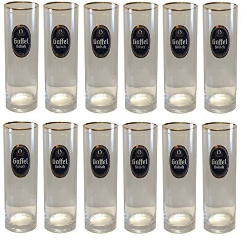 Gaffel Kolsch - set of 12 - German Beer Gold Rim Glasses 0.4 LiterStange - NEW