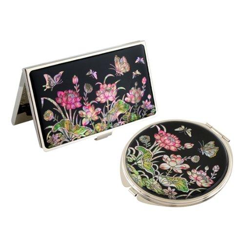 Nacre Rose Fleur de Lotus Motif miroir Compact pour nom de crédit carte de visite de en acier inoxydable gravé fin ID l'argent Coque