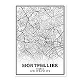 Leinwand Bild,Frankreich Montpellier Stadtplan Einfach