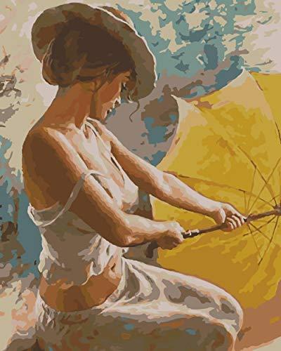 Digitale Schilderij door Nummers Kits Olieverfschilderij op Canvas Kunstwerk en Geschenk voor Thuis/Kantoor/Nieuwe Accommodatie/Bruiloft Paraplu Meisje