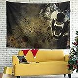 Magiböes Tapiz de pared con impresión de sangre de lobo, 200 x 150 cm, color blanco