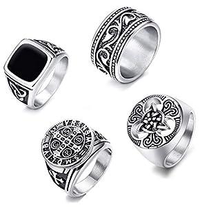 CASSIECA 4 STÜCKE Edelstahl Signet Ring für Herren Frauen Breit Gravur Christ Templer Ring Vintage Punk Biker Gothic Ring