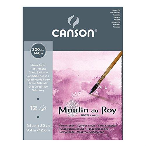 Canson Moulin du Roy - Bloc papel de acuarela, 24 x 32 cm, color blanco natural