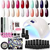 SHELLOLOH Gel Nail Polish Kit with 48W Nail Dryer Curing Lamp, 20 Colors Gel Nail Polish, Base Coat&Top Coat and Manicure Tools for Beginners Doing Nails at Home