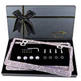 OKLPF Bling License Plate Frame for Women, Sparkly Stainless Steel License Plate Frames Over 1200 pcs 14 Facets Bedazzled Clear Glass Diamond Rhinestone Crystals (Colorful Rhinestone)