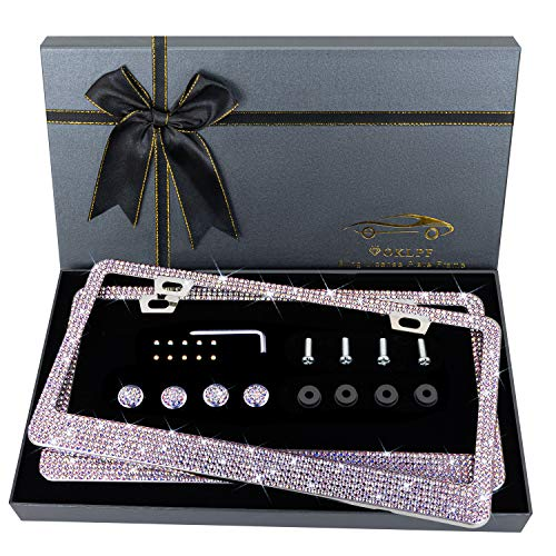 OKLPF Bling License Plate Frame for Women, Sparkly Stainless Steel License Plate Frames  Over 1000 pcs 14 Facets Bedazzled Clear Glass Diamond Rhinestone Crystals w/Free Glitter White Diamond Box