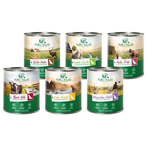 Müllers Naturhof | Mix | 6 x 800 g | Nassfutter für alle Hunderassen | getreidefrei und glutenfrei | mit Gartengemüse und Wiesenkräutern | naturnahe Rezeptur mit 65{6029ebdfc709c30c6f31a69b9b11667cf41596df932df318af23775593ad9a05} Fleisch