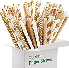 Paper Straws 100-Pack Gold Biodegradable, 7.75 Inches, Foil Striped, Wave,Heart, Gold, Bulk, Stars Paper Straws Ououps…