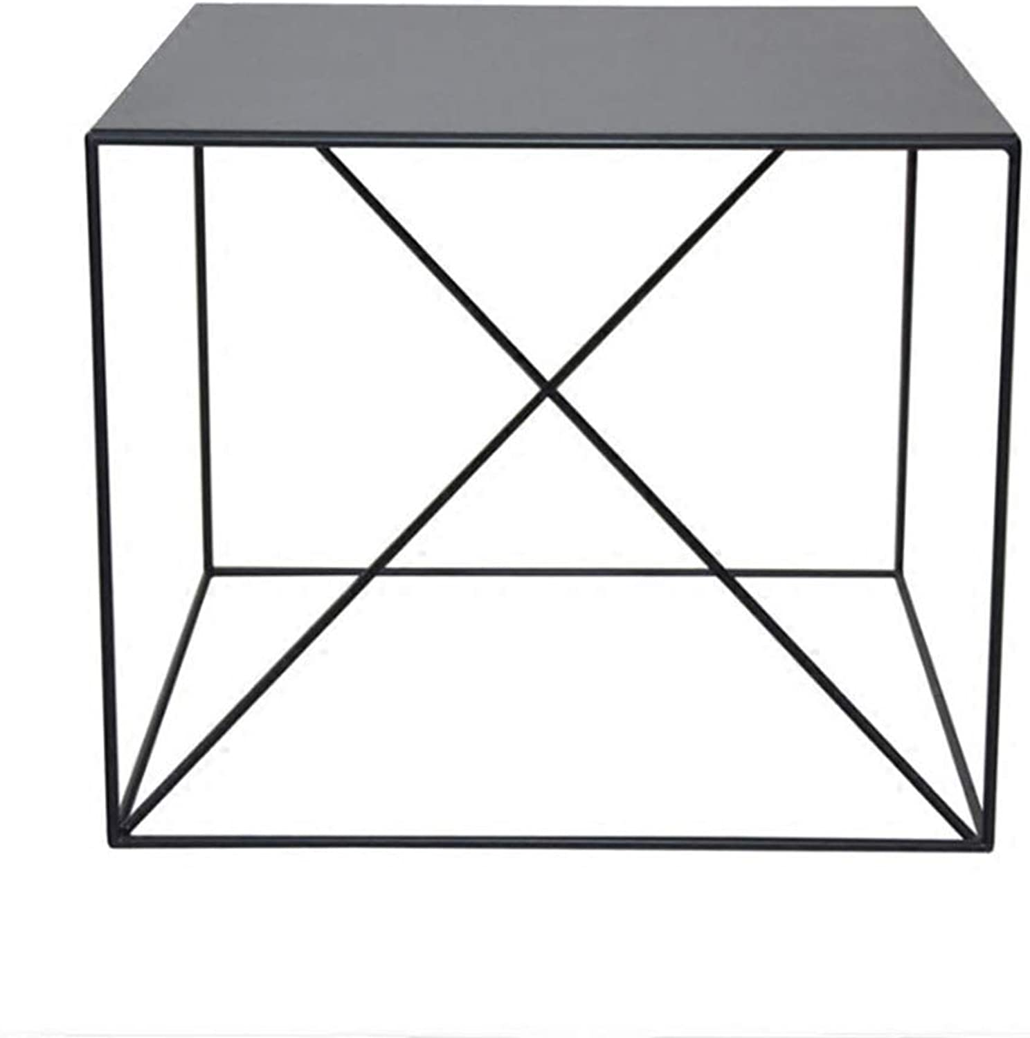 Iron Art Side Living Room Sofa Corner A Few Bedroom Bed Side Table Black and White American Coffee Table It Can Move Nordic Small Square Simple Modern Square Table,Black
